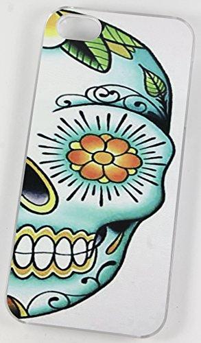 Sucre Tête de mort Demi visage Fleur œil Motif Tattoo (iPhone 4/4S Housse/Coque de Protection en plastique rigide Transparent)