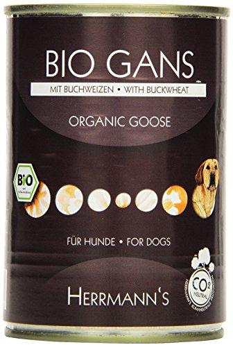 Herrmanns Bio Hundefutter Gans Menu 1 mit Buchweizen, Apfel, Kokosmilch 400 g, 12er Pack (12 x 400 g)