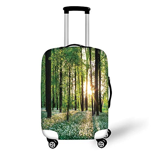 Travel Luggage Cover Suitcase Protector,Farm House Decor,Sunny Forest with Wild Garlic Enchanting Wildflowers Blossoms Landscape Scene,Green White,for TravelM 23.6x31.8Inch -