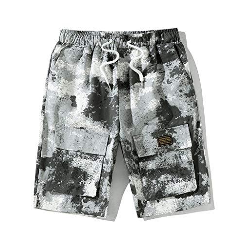 Jogginghose Bermuda Shorts Badehose,SUNFANY Herren Sommer Freizeit Camouflage Overalls Fashion Multi-Pocket-HosenRegular Fit(Weiß,XXXXXL) -