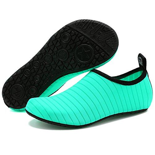 VIFUUR Scarpe da sport acquatici Barefoot Quick-dry Aqua Yoga Slip Slip-on per Uomo Donna Bambino Verde