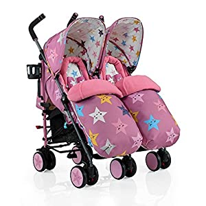 "Cosatto Supa Dupa Double/Twin Stroller, Suitable from Birth, Happy Stars Hadwin Sturdy Frame& Soft Seat: Made of all- steel frame and breathable soft fabric. Provide safety and comfort sitting or sleeping experience for each baby. Comfortable Design: Backrest and footrest adjustable into several angles, foldable sunshade make a comfortable environment for baby sitting, gaming or sleeping; removable cup holder dinner tray and large shopping basket provide much convenience for daily use. Easy to Fold & Carry: The pushchair is easy to fold with ONE HAND within seconds. Double locks provide more insurance. Folding size: 35.04"" x 20.08"" Easy to carry or storage. (Net Weight: 9 KG) Ideal for walking, shopping, travelling, and etc. 8"