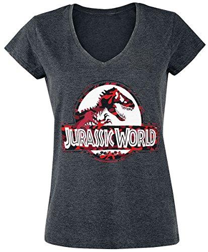 Unbekannt Jurassic Park Jurassic World - Logo - Camouflage Girl-Shirt Charcoal Meliert L (Womens Icon-t-shirt)