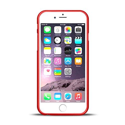 iPhone 6S, 6 Silikon Hülle, Conie Mobile Brushed Case Schlanke Schutzhülle TPU Handyhülle Backcover Rückschale in Weiss Rot