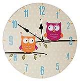 Wanduhr aus Holz -  lustige Eulen auf AST  - 34 cm groß - sehr leise ! - Uhr - Analog - Kinderzimmer & Wohnzimmer - für Jungen Mädchen Kinder - Eule Blätter..