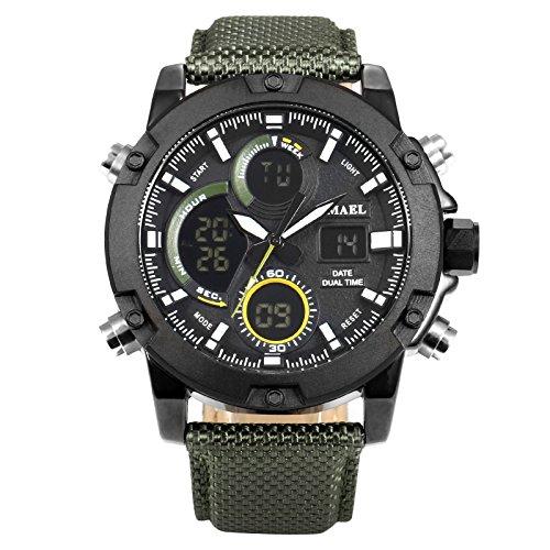 Analoge Lcd (EASTPOLE Herren Uhren, Großes Gesicht Sportuhr LCD Digital Analog Wasserdicht Militär Leuchtend Armeegrün Armbanduhr WMB020)
