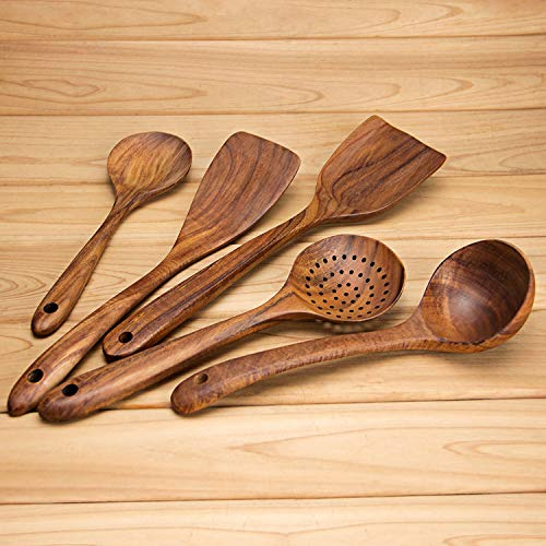 AOOSY Küchenhelfer Set Holz,5 Stück Küchenutensilien-Sets,Kochutensilien-Set aus Holz im japanischen Stil Kratzfeste Utensilien-Sets einschließlich Holzspatellöffel für Antihaft-Pfannen - 2