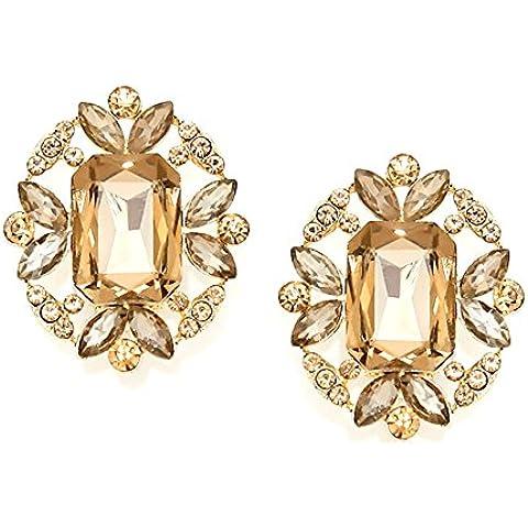 Statement Luxus Mega bella e grande orecchini a Clip orecchini Clips Clip cristallo color Miele/oro 3,5x 3cm