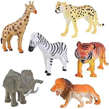Nuolux 6pcs Plastic Model Wild Animals Toy Tiger Leopard