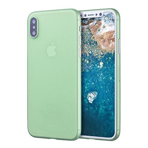 doupi UltraSlim Hülle für iPhone X, Ultra Dünn Fein Matte Oberfläche Handyhülle Cover Bumper Schutz Schale HardHülle für iPhone 10 (2017) Design Schutzhülle, grün