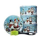 4 runde Keksdosen / Weihnachtsdosen / Geschenkdosen Ø 13 cm - inkl. 1 Backpinsel