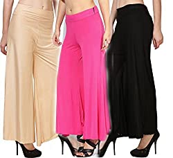 Rooliums Brand Factory Outlet Womens Trendy and Stylish Malai Lycra Palazzo (Pack of 3) Free Size (Beige, Pink, Black)