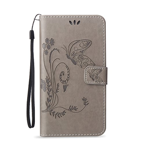 Embossed Blumen Schmetterling Muster Solid Color PU Ledertasche Flip Magnetische Silikon Tasche Wallet Stand Case mit Handschlaufe für iPhone7 Plus ( Color : Red , Size : IPhone 7 Plus ) Gray