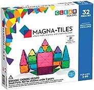 Magna-Tiles 32-Piece Clear Colors Set, The Original, Award-Winning Magnetic Building Tiles for Kids, Creativit