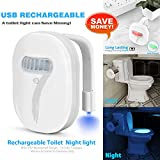 Rechargeable toilet light , cuvette toilette lumière avec IP67 étanches , Elimi 12 changements de couleur de la LED Eclairage activée par mouvement Lampe de Toilette,Motion Activated Sensor in Dark