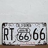 Cartel de chapa Placa metal tin sign retro nostálgico metalicas Route 66 California matrícula del coche Cali