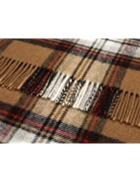 Camel Stewart Tartán Lana rodilla alfombra manta–British Made by Bronte