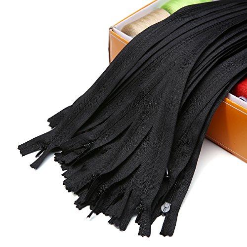 KING DO WAY 30 Unsichtbare Reißverschlüsse, Reißverschluss zum Einnähen, 40cm Nylon Tuch, Metall Reißverschluss Kopf, Farbe: Schwarz, Weiß schwarz (Kostüm Kopf Reißverschluss)