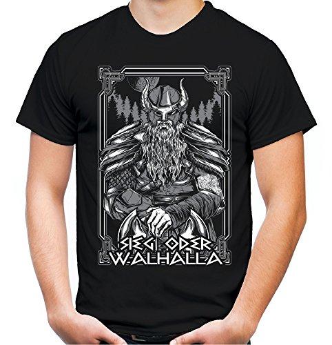 Sieg oder Walhalla Männer und Herren T-Shirt   Odin Wikinger Valhalla Geschenk   M2 Front (Schwarz, L) (Wand Valhalla)