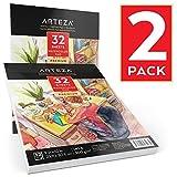 Arteza Watercolor Pad, Aquarellpapier, Aquarellkarton 22,9 x 30,5 cm (300 g/300G, 32 Blatt, 2 Stück)