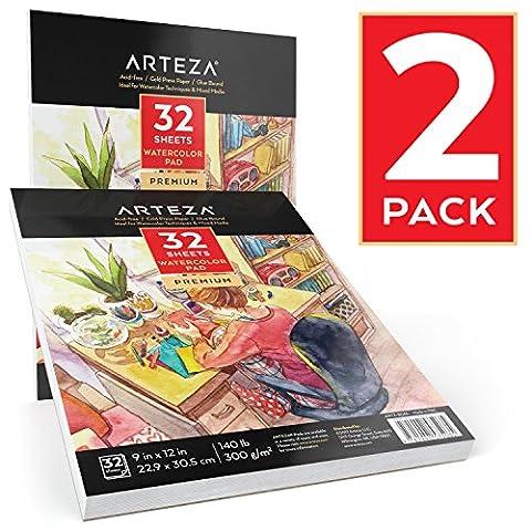 Arteza Bloc aquarelle 22,9x 30,5cm (63,5kilogram/300g, 32feuilles, Lot de 2)