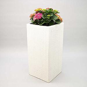 Elegant Einrichten Pflanzkübel Polyrattan Säule 40x40x84cm weiß