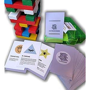 Encambio Alcrea EXPANSIÓN de Cartas para Torre de Bloques de Madera (Jenga™). Cartas con RETOS, Pruebas, COMODINES y…