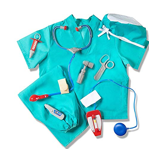 Waroomss Surgeon Kostüm für Kinder, Kinder Halloween-Arzt Dress Up mit Durable Case Blau Chirurg Kit Spielzeug Chirurg Zubehör für Kleinkind Kinder Alter 4-8 (Kleinkinder Dress Halloween Für Up)