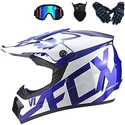 MRDEAR Casque Motocross Enfant, Blanc et Bleu, Casque VTT Integral/Goggle/Gants Moto/Masque, Adulte Casques Moto Cross Velo Quad Enduro ATV Scooter, Certification D.O.T,M