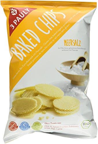 3 Pauly Baked Chips Meersalz BIO - glutenfrei,  10er Pack (10 x 85 g) (Chips Gebacken)