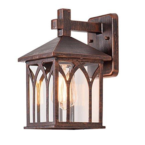 GAOWORD Im Freien Wasserdichte Wandlampe Quadratische Antike Patio-Leuchte Ist Verwendbarer Balkon-Gang, Messing