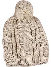 Amurleopard Bonnet tricot a pompon homme femme chapeau unisexe hiver chaud Beige taille unique