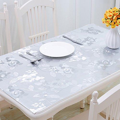 Nappes Impression PVC Table Tissu Étanche Souple En Plastique Verre Plastique Lisse Cristal Plaque Facile De Stockage Argent 1.0mm Épais (taille : 80×140cm)