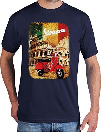 adrotes® Vespa Roadtrip - Vintage T-Shirt - Gr. S-5XL (M, Navy)
