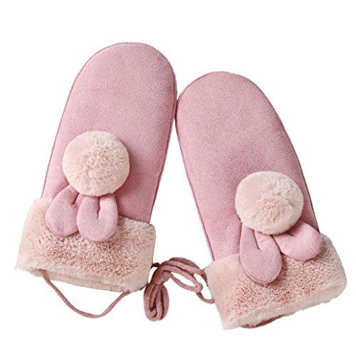 Handschuhe Damen Longra Frauen Mädchen Mode Winter Twist Handschuhe Warm Full Finger Faux Wildleder Handschuhe (Pink)