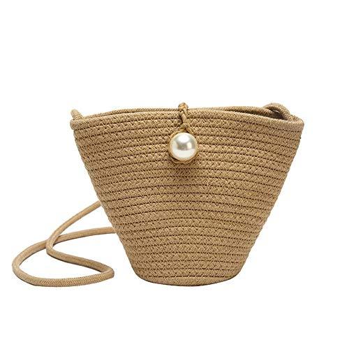 Freedomanoth Vintage Gewebte Diagonale Strandtasche Handtasche Handgewebte Damentasche Wilde Vintage Sommer Wild Gewebte Handtasche Einseitiges Umhngetasche Aus Stroh - Einseitige Einheit