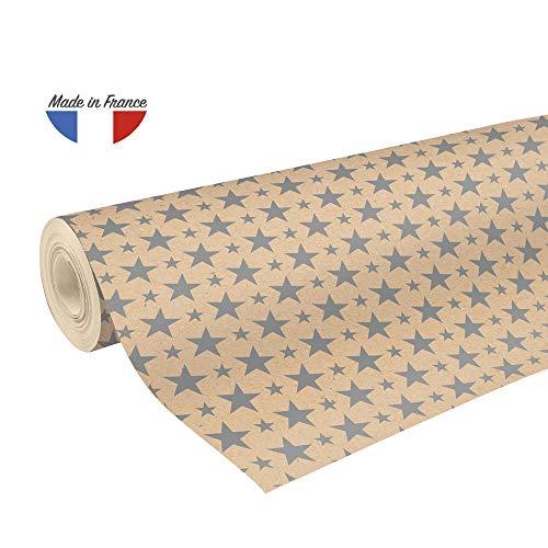 Clairefontaine 223801C Rolle Geschenkpapier mit Weihnachtsmotiven, 50 x 0,70m, 70g/qm, Recycling Kraftpapier, ideal für große Geschenke, 1 Stück, Silber