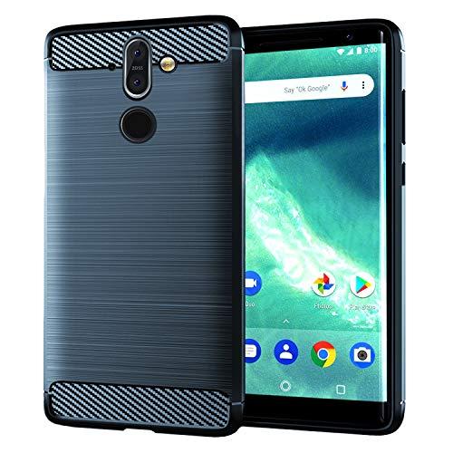 NEWZEROL Ersatz für Nokia 8 Sirocco Hülle [Slim-Fit] [Kratzschutz] [Stoßdämpfung] Brushed Grip Case Schutzhülle TPU Weiche Handyhülle für Nokia 8 Sirocco- Blau