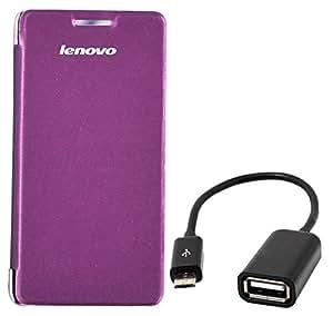Chevron Flip Cover Case with Micro OTG Cable for Lenovo A6000 Plus (Purple)
