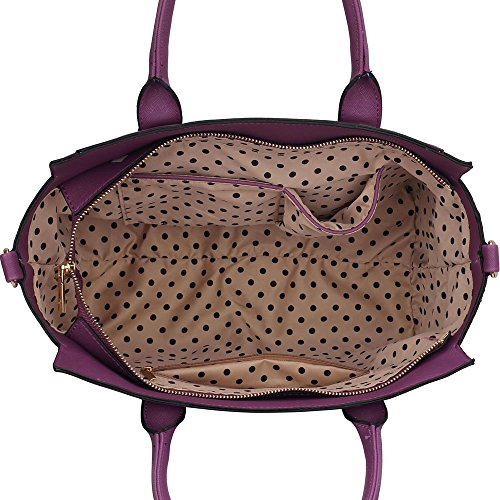 Meine Damen Umhängetaschen Frauen Große Designer Handtaschentoteschulterkunstleder Modische Taschen (A - Schwarz) Lila1