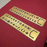Lot de 2pochoirs de lettres et nombres en laiton par Amupper–modèles en métal avec beaucoup de symboles