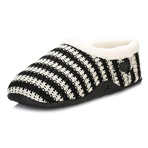 Homeys Barney Slippers - Black Stripes-Small