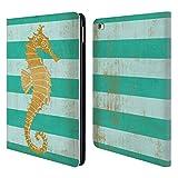 Head Case Designs Offizielle Paul Brent Gold Seahorse Küsten Brieftasche Handyhülle aus Leder für iPad Air 2 (2014)