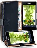 Pochette OneFlow pour Sony Xperia E3 housse Cover avec fentes pour cartes | Flip Case étui housse téléphone portable à rabat | Pochette téléphone portable étui de protection accessoires téléphone portable protection bumper en DEEP-BLACK
