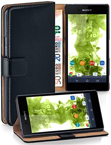 moex® Booklet mit Flip Funktion [360 Grad Voll-Schutz] für Sony Xperia E3 | Geldfach & Kartenfach + Stand-Funktion & Magnet-Verschluss, Schwarz