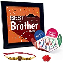 Indigifts Best Brother Ever Quote Printed Gift Set Of Poster Frame 8X8 Inches, Crystal Rakhi ,Roli, Chawal & Greeting Card For Men/Boys