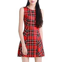 Allegra K Mujer Mini Vestido Sin Mangas a Cuadros Estilo A Line Rojo XL