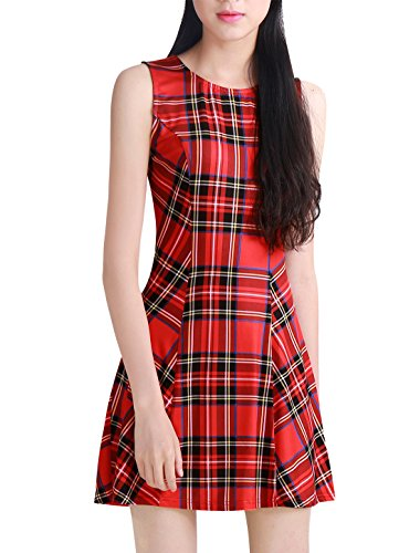 Allegra K Mujer Mini Vestido Sin Mangas a Cuadros Estilo A Line - Rojo/M