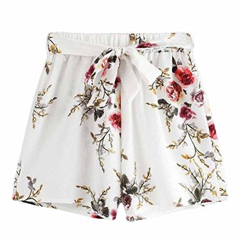 FEITONG Damen Hot Pants Sommer Shorts Hohe Taille Kurze Hosen Kaktus Blumenmuster Elastisch Strand Hose -