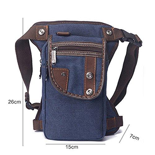 Outreo Hüfttaschen Sporttasche Gürteltasche Vintage Tasche Sport Bag Bauchtasche Herren Canvas Outdoor Trinkgürtel Reisetaschen Handtasche Geldbeutel Blau
